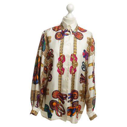 Hermès Zijden blouse met kleurrijke patronen