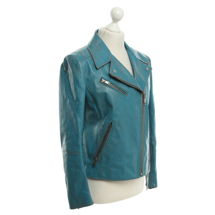 Prada Leather jacket in turquoise blue