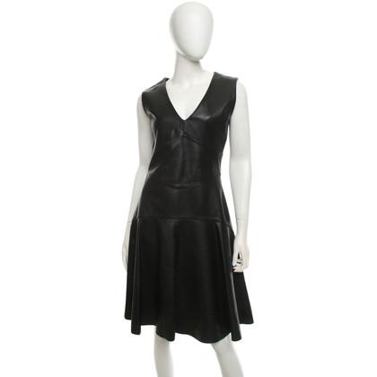 Iris & Ink Leder-Kleid in Schwarz