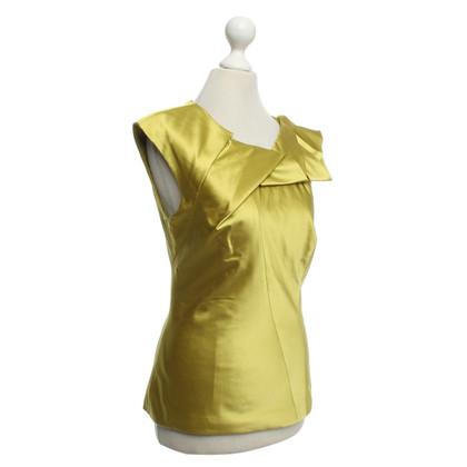 Karen Millen Seiden-Shirt in Grün/Gelb