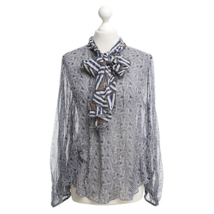 Diane von Furstenberg camicetta di seta in bianco e blu