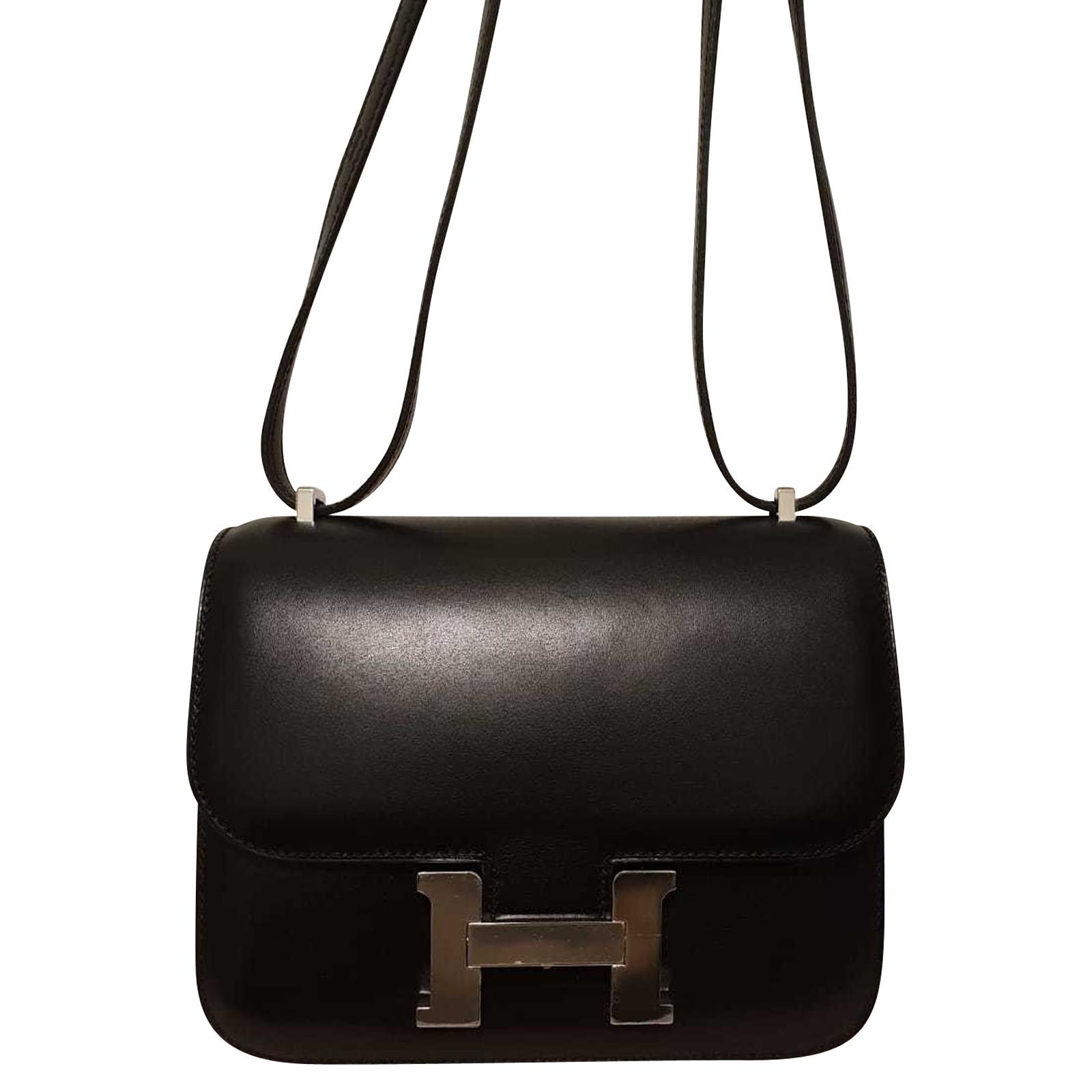 Hermès Borsa a tracolla in Pelle in Nero Second hand