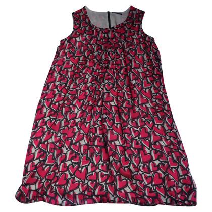Strenesse zijden jurk, room-roze-zwart