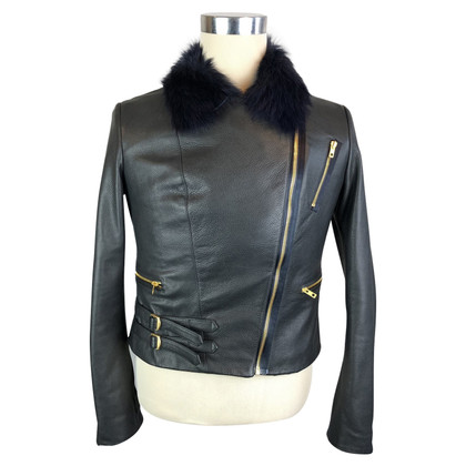 Paul Smith Paul Smith Navy Leather Biker Jacket