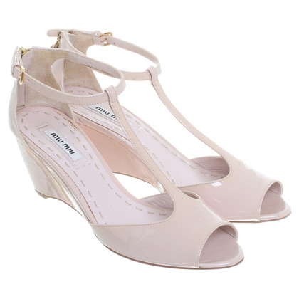 Miu Miu Beige patent leather sandals