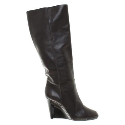 Tod's Dark brown boots with wedge heel