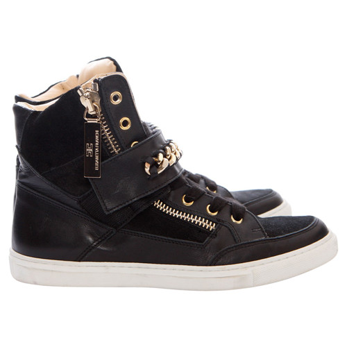 separation shoes 8fd2c a7e97 Elisabetta Franchi suede/leather sneakers with golden chain ...