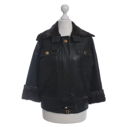 Gucci Leather jacket with rabbit fur trim