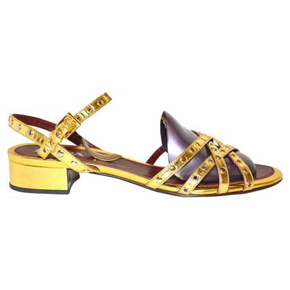 Prada sandales couleur or