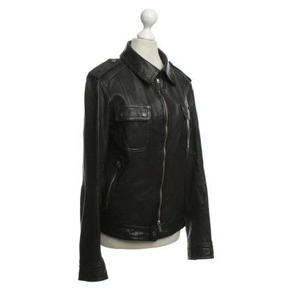 John Galliano Lederjacke in Schwarz
