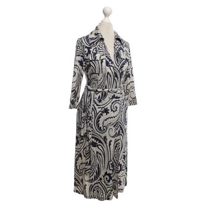 Diane von Furstenberg Silk dress in dark blue / cream