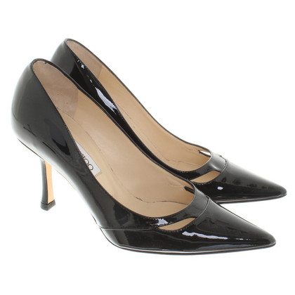 Jimmy Choo Pelle verniciata in nero pumps