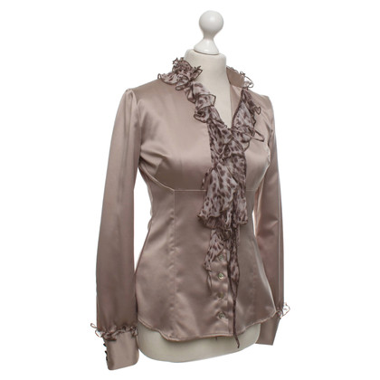Roberto Cavalli Satin blouse in taupe