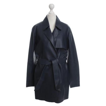 Oakwood Cappotto in pelle blu scuro