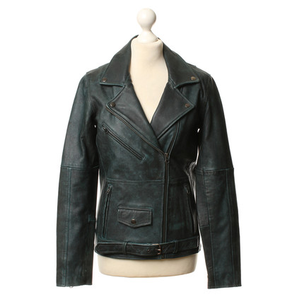 Gestuz Leather jacket in dark green