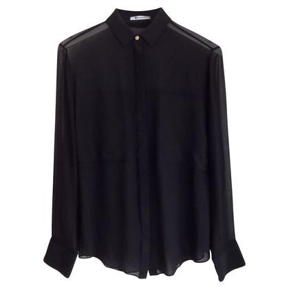 T by Alexander Wang Zijden blouse in zwart