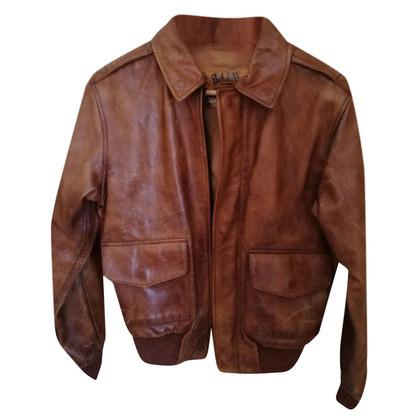 Belstaff Veste en cuir avec poignets en tricot