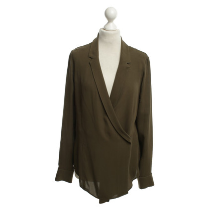 Theory Silk blouse in olive