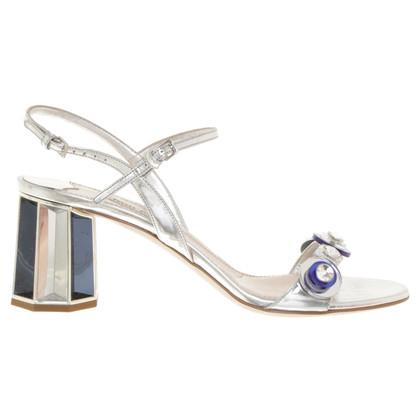 Miu Miu Silberfarbene Sandaletten