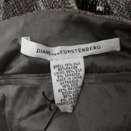 von Bahnenrock Diane Furstenberg Diane von Furstenberg mit Grau Bahnenrock Besatz Pailletten p4x6CIx