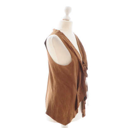 Sandro Brown leather vest with rivets