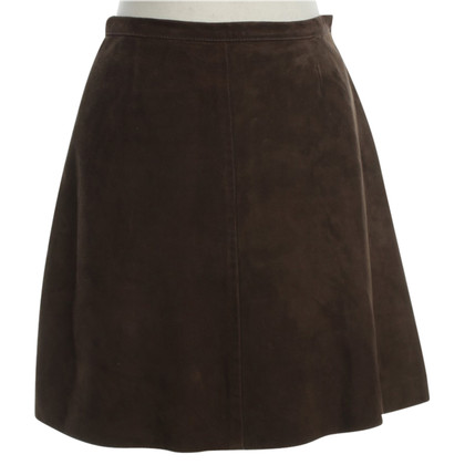 Dolce & Gabbana Suede leather skirt Brown