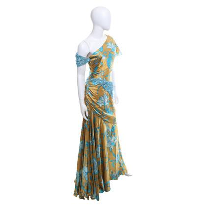Valentino Silk dress in yellow / blue