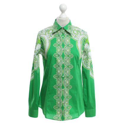 Etro Patterned blouse in green / white