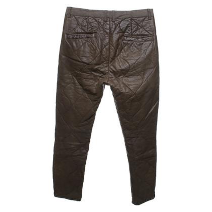 Isabel Marant Pantalon en cuir en kaki