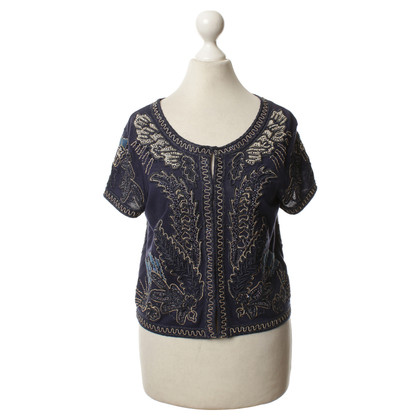Diane von Furstenberg top with elaborate embroidery
