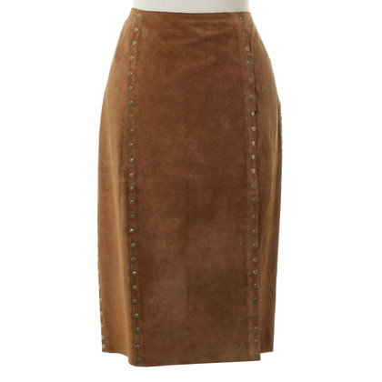 Céline Cognac suede skirt with rivets