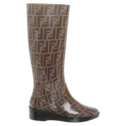 Fendi Rubber boots with logo pattern