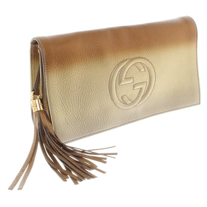 Gucci Goldfarbene Leder-Clutch