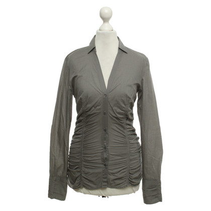 Hugo Boss Bluse in Grau/Oliv
