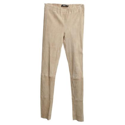 Arma pantaloni di pelle di agnello in beige