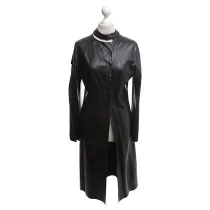 Costume National manteau en cuir noir