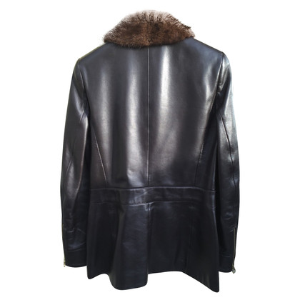 Escada Leather jacket with mink collar