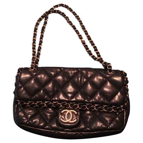 Chanel Shoulder Bag Leather In Black Second Hand
