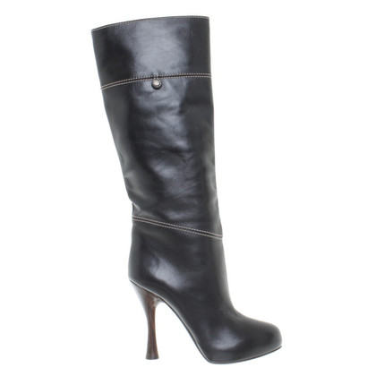 Bally Leather boots with wooden heel