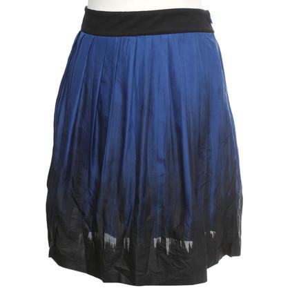 Reiss jupe de soie en bleu / noir