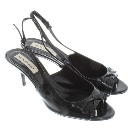 Burberry Slingback-Peeptoes aus Lackleder