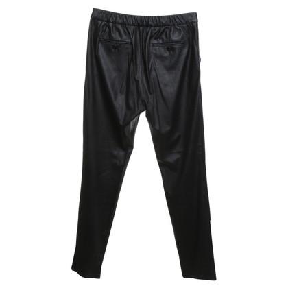 René Lezard pantaloni di pelle imitazione in nero