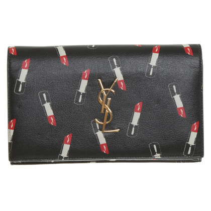 "Saint Laurent ""Classic Monogram clutch"" with lipstick print"