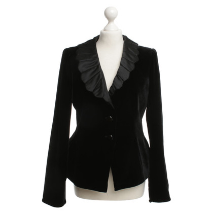 Armani Collezioni Black Velvet jacket with lapels Scalloped