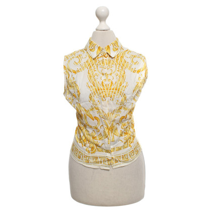 Versace Sleeveless blouse in white / yellow