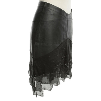 Jitrois Leather skirt with gemstones