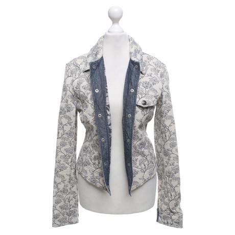 armani jeans mit jeans jacke creme floralem jacke muster mit armani rq6ircnxrw - Jeans Mit Muster