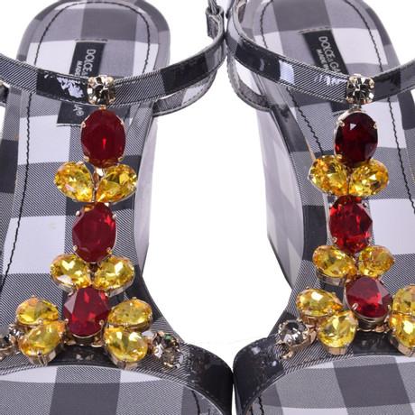 Schwarz amp; Gabbana Wedges Dolce Gabbana Wedges Wei Karomuster mit Dolce amp; BFzn6qT