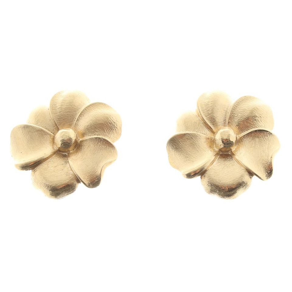 Christian Dior Gold colored flower ear clips