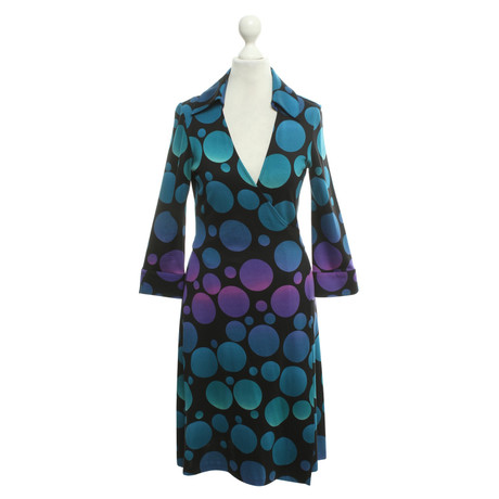 Diane von Furstenberg Wickelkleid mit Punktemuster Blau